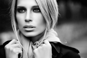 Model in black and white photo with pensive look